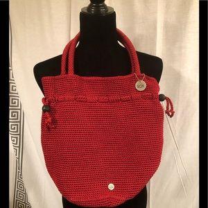 The Sak Red Crochet Bucket Bag